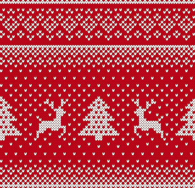 Knit christmas pattern with deer and tree. xmas seamless background. knitted print. festive ornament