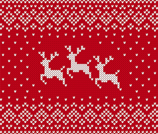 Knit christmas pattern with reindeer. xmas seamless background. . knitted sweater print. holiday winter red texture. festive traditional ornament. wool scandinavian pullover illustration.