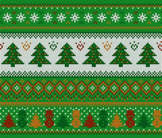 니트 크리스마스 패턴. 나무와 눈사람 크리스마스 완벽 한 배경입니다. 축제 겨울 녹색 텍스처