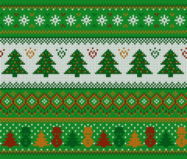 Knit christmas pattern. xmas seamless background with tree and snowman. festive winter green texture