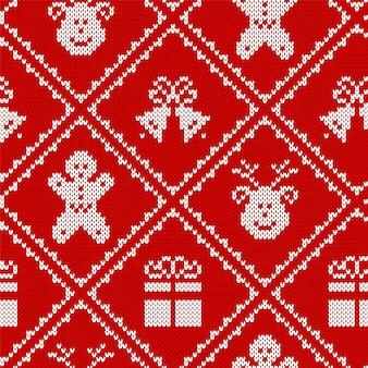 니트 크리스마스 프린트. 크리스마스 완벽 한 패턴입니다. 벡터. 축제 스웨터 배경입니다. 휴일 붉은 질감