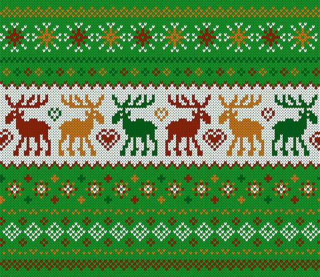Knit christmas seamless pattern. green print with deers. knitted sweater texture. xmas background.
