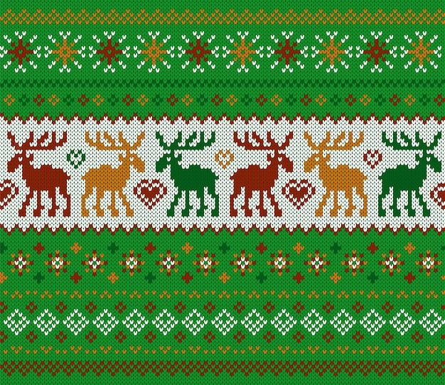 ニットクリスマスシームレスパターン。鹿と緑のプリント。ニットセーターの質感。クリスマスの背景。