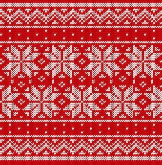 Knit christmas seamless pattern. knitted scandinavian texture.