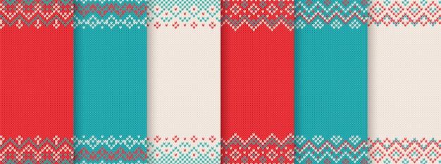 Knit christmas seamless pattern. red, blue, white prints.
