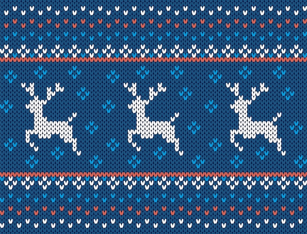 Knit christmas texture. seamless pattern with deers. blue knitted sweater print. xmas wool ornament.