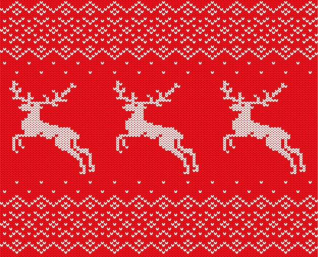 Knit christmas with deers and ornament