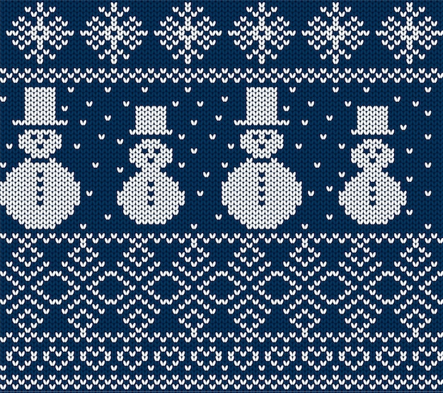 Knit christmas with snowmen and snowflakes. blue seamless background.