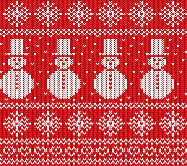 Knit christmas with snowmen and snowflakes. geometric knitted seamless pattern.