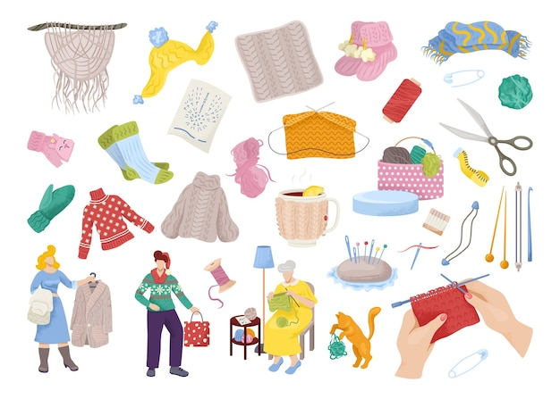 니트 의류 세트. 겨울 니트 의류 세트, 아늑한 컬렉션. 모자, 스웨터