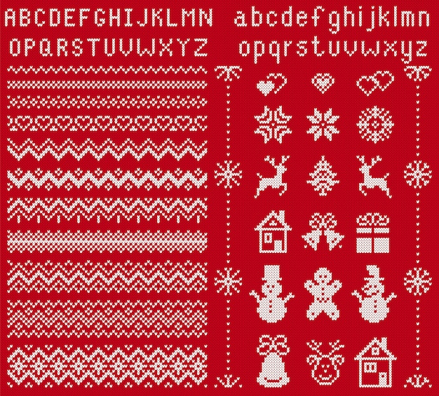 Knit elements and font. . christmas seamless borders. sweater pattern. fairisle ornaments with type, snowflake, deer, bell, tree, snowman, gift box. knitted print. xmas illustration. red texture
