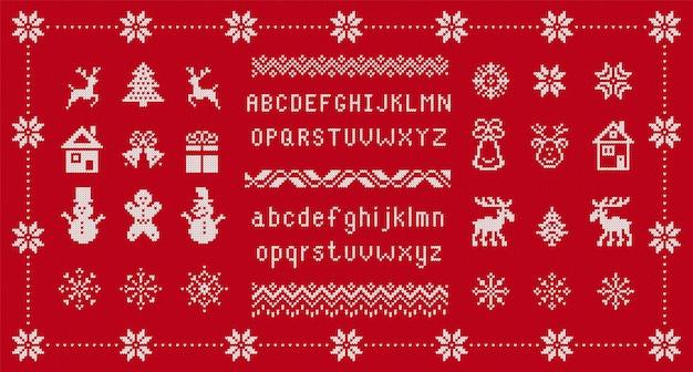ニットフォントとクリスマスの要素。シームレスニット柄。タイプ、鹿、鐘のあるフェアアイルの装飾品