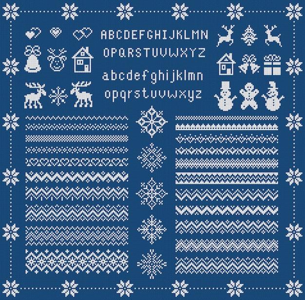 ニットフォントとクリスマスの要素。クリスマスのシームレスな境界線。 。セーター柄。タイプ、スノーフレーク、鹿、ベル、ツリー、雪だるま、家の妖精飾り。ニットプリント。青いテクスチャイラスト