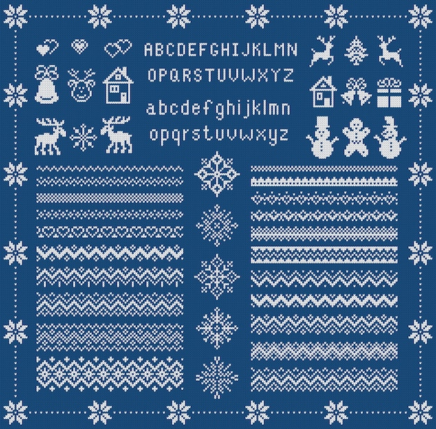 Knit font and xmas elements . christmas seamless border. . sweater pattern. fairisle ornament with type, snowflake, deer, bell, tree, snowman, house. knitted print. blue textured illustration