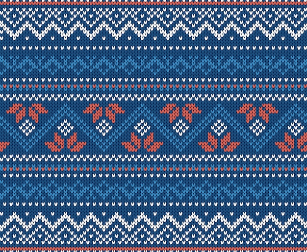Knit geometric ornament background in blue and white colors.