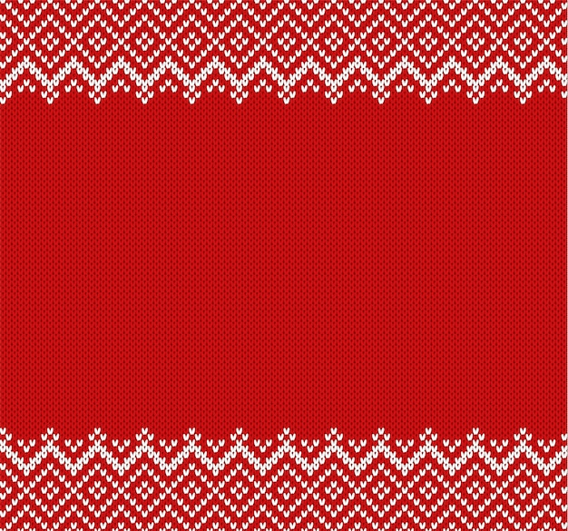 Knit geometric ornament background with empty place for text. knitted textured pattern in fair isle style.