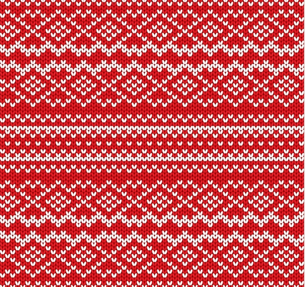 Knit geometric ornament seamless pattern. handcraft knitwear design. knitted winter red color sweater texture.