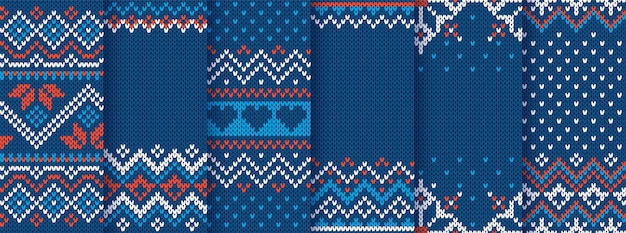 Knit print. christmas seamless pattern. blue knitted sweater texture. set xmas winter geometric background. holiday fair isle traditional ornaments. wool pullover illustration. festive crochet