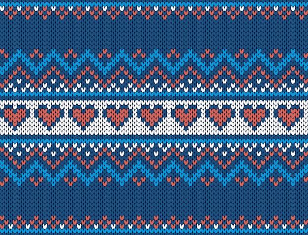 Knit print. christmas seamless pattern. blue sweater texture. xmas fair isle traditional ornament.