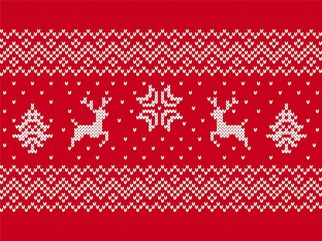 Knit print with deers, trees. christmas seamless pattern.