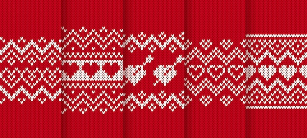 Knit red seamless pattern with hearts.