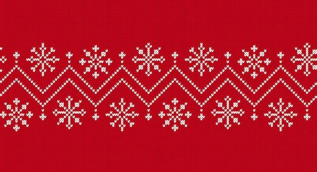 シームレスボーダーニット。クリスマスのパターン。赤いニットの質感。