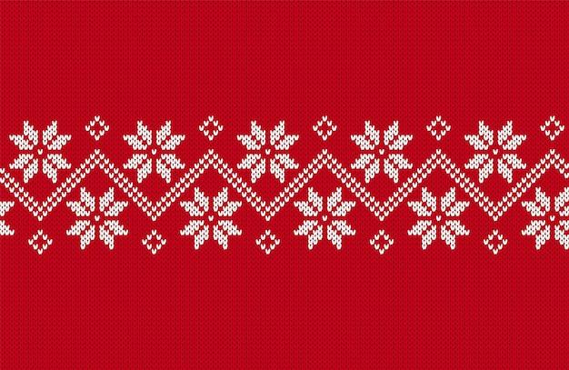 シームレスボーダーニット。クリスマスのパターン。赤いテクスチャ。クリスマスプリント。フェア島の背景。ベクター