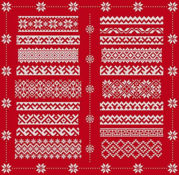 Knit seamless borders. vector. christmas frames on red patterns. knitted print. fairisle ornaments. scandinavian texture.