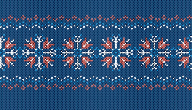 Вяжем бесшовные модели. синяя вязаная текстура со снежинками. новогодняя рамка. рождественский принт