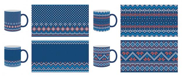 Knit seamless pattern. blue print, border design.  illustration.