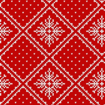 Knit seamless pattern. christmas background. . knitted sweater texture. xmas festive winter red print with snowflakes. holiday fair traditional ornament. wool pullover.