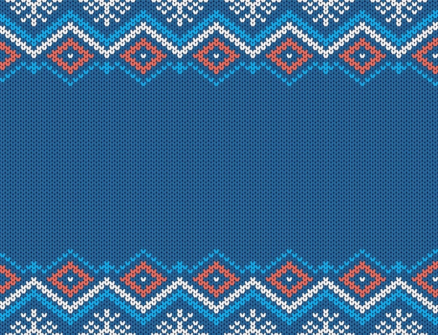 Knit seamless pattern. christmas blue texture. knitted sweater background. xmas geometric print.