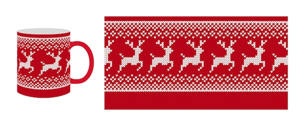 Knit seamless pattern. christmas red border print . . knitted texture with reindeer.