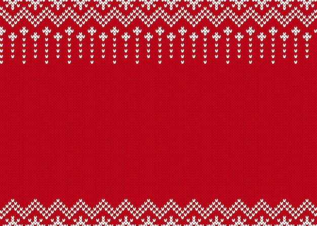 ニットのシームレスパターン。クリスマスの赤いプリント。