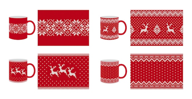 Knit seamless pattern. christmas texture. vector. set knitted background. red festive fairisle print