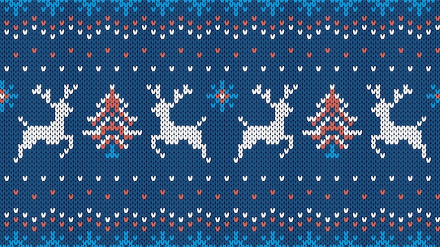 Knit seamless pattern. christmas texture with deers, tree, snowflakes. blue sweater background.