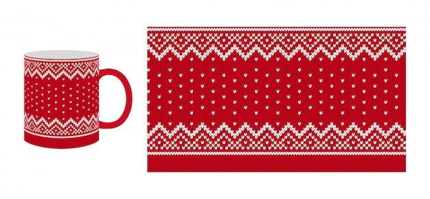 Knit seamless pattern. print with border.  illustration. winter design.