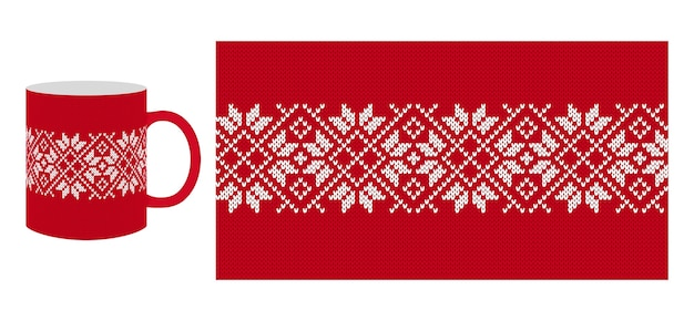 Knit seamless pattern. red print for cup