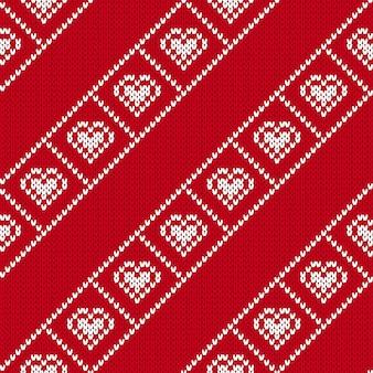 Knit seamless pattern. valentine day print.  illustration.