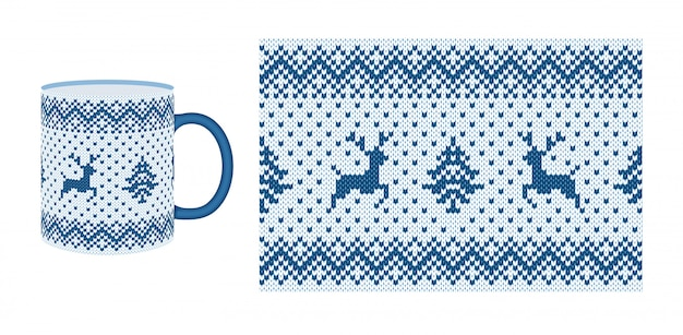 Knit seamless pattern. xmas border texture. . christmas fair isle frame with deer, tree. knitted sweater print for cups, dishes, crockery. holiday winter background. white blue illustration.