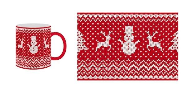 ニットのシームレスパターン。クリスマスプリント、ボーダーデザイン。ベクトルイラスト。