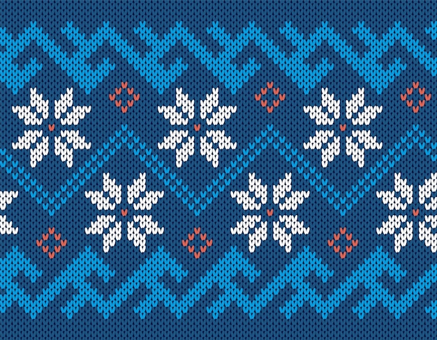 Knit seamless print. christmas pattern. blue knitted sweater texture. holiday fair isle ornament.