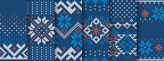Knit seamless print. christmas pattern. blue knitted sweater texture. set xmas fair isle ornaments