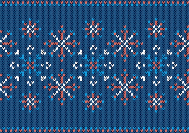 Knit seamless texture. christmas pattern with snowflake. blue knitted sweater print. xmas background