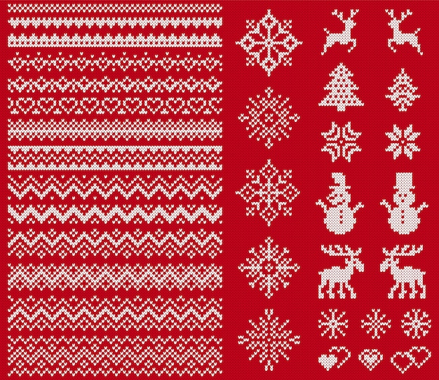Knit sweater elements. christmas seamless borders.
