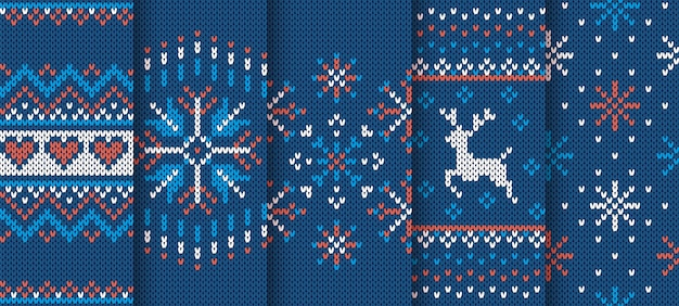 Knit texture. christmas seamless pattern. blue knitted sweater print. set xmas winter ornament