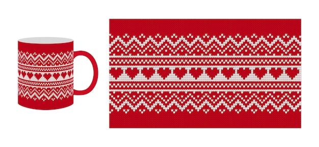 Herats와 발렌타인 텍스처 니트. 원활한 패턴입니다. 크리스마스 빨간색 니트 스웨터. 크리스마스 인쇄.