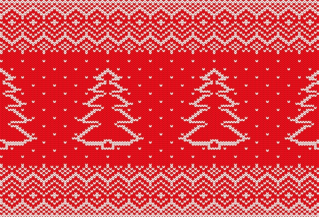 Knit xmas geometric ornament with christmas tree and empty space for text