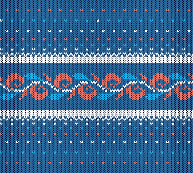 Knitted blue texture. christmas seamless pattern.
