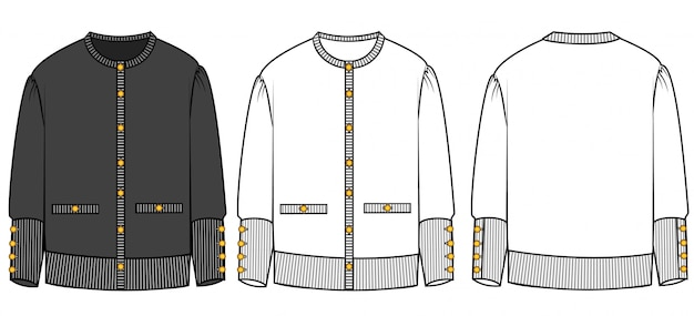 Вязаный кардиган шаблон эскиза моды